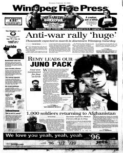 winnipeg-free-press, February 13, 2003, Page 1