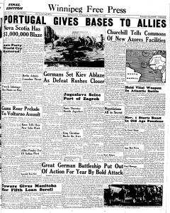 winnipeg-free-press, October 12, 1943, Page 1